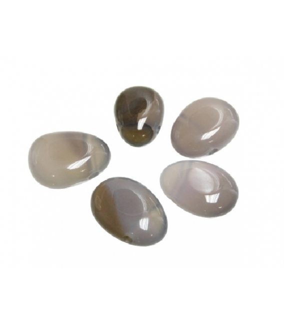 Colgante perita agata gris agujero grande (5ud)