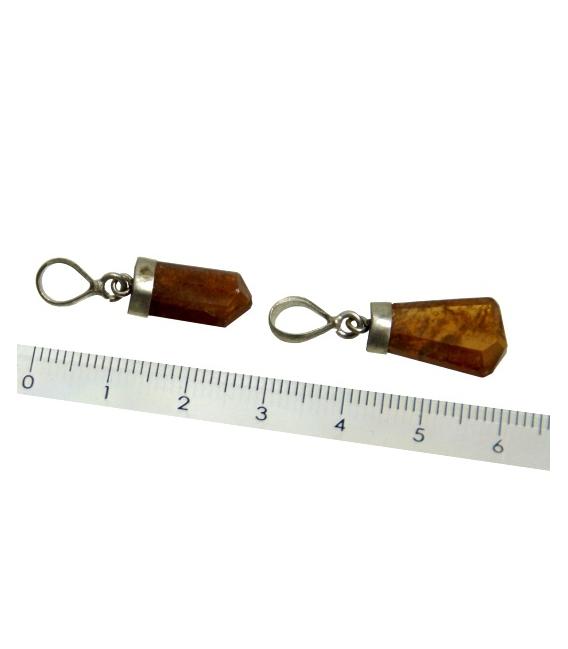 Colgante punta granate plata (2ud)