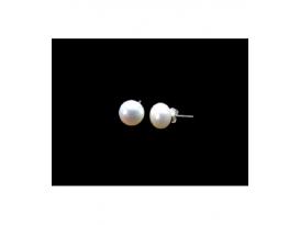 Pendiente perla 10mm. plata (2par)