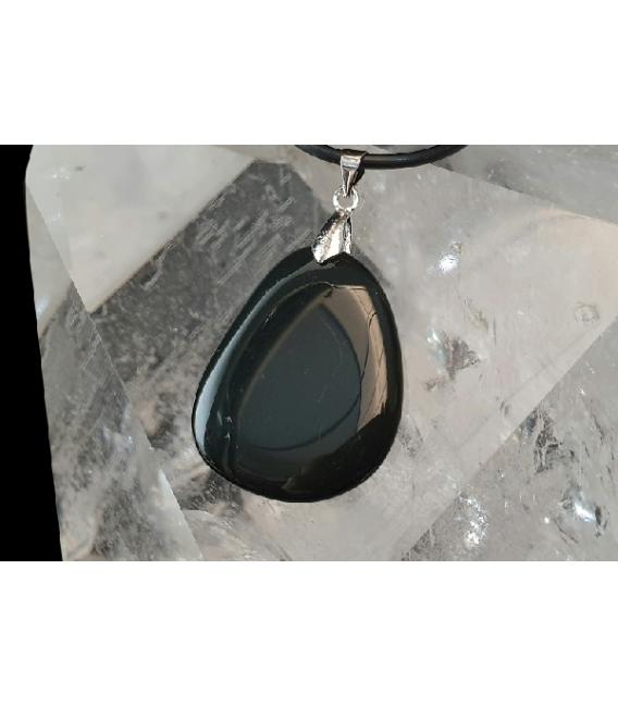 Colgante rodado plano obsidiana (10ud)