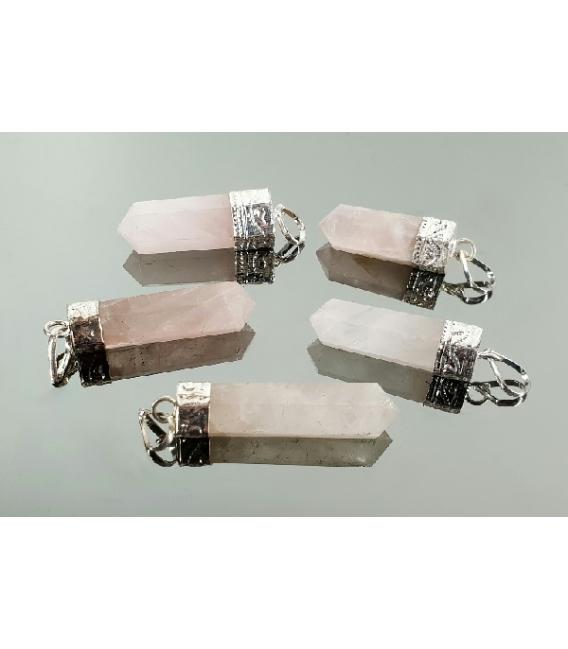 colgante punta generador cuarzo rosa(5ud)