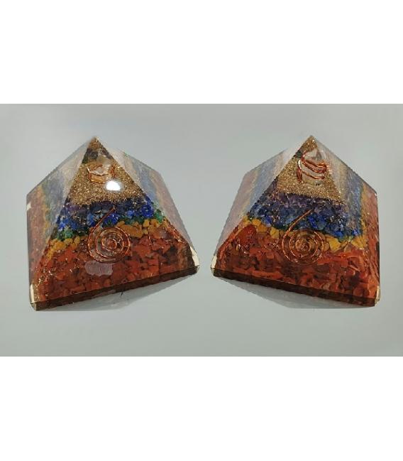 PIRAMIDE ORGONITE 7x7cm CHACRAS
