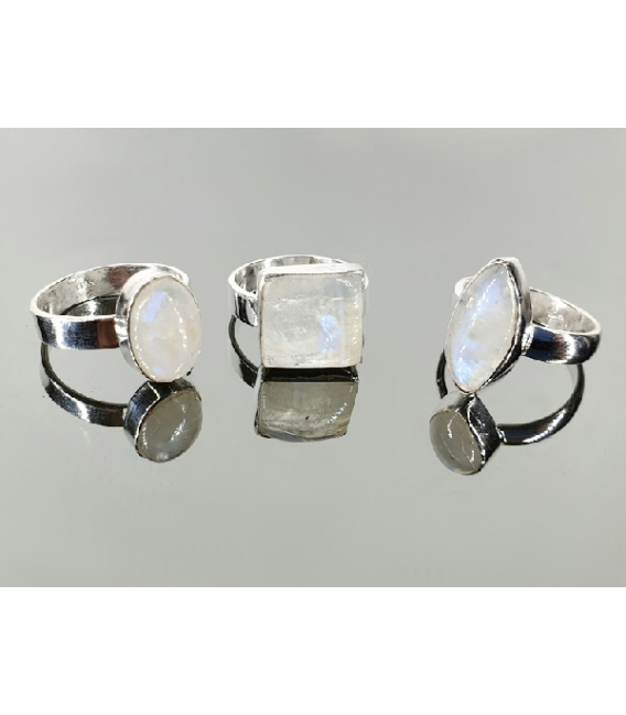 Anillo adaptable piedra luna plata(1ud)