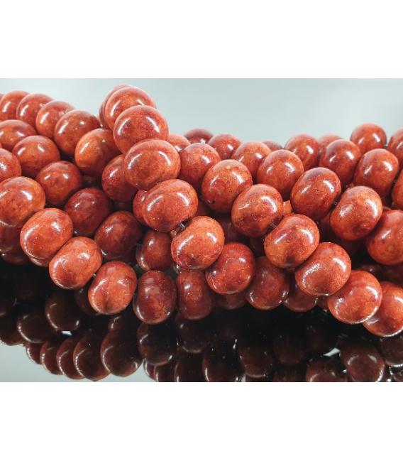 Hilo lenteja coral manzana 17mm