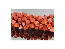 Hilo cubo coral manzana 8x8mm
