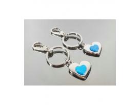Llavero doble corazón turquenita (2ud)