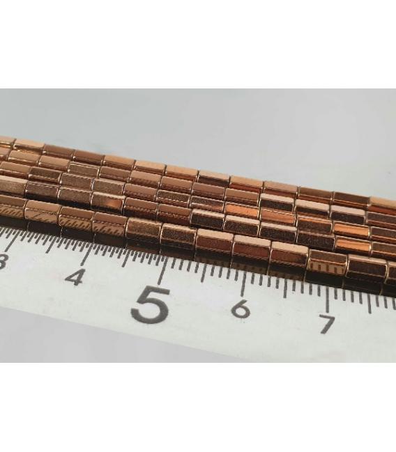 Hilo prisma hematite color cobre 5x2mm