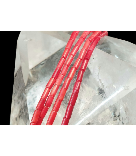Hilo tubo coral bambu 3x7mm