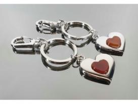 Llavero doble corazon carneola (2ud)