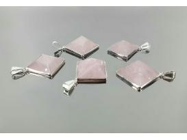 Colgante pirámide borde cuarzo rosa (5ud)