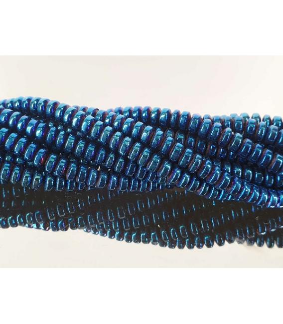 Hilo lenteja hematite color azul añil 4mm