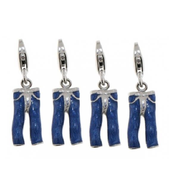 Charm plata tejano azul esmaltado