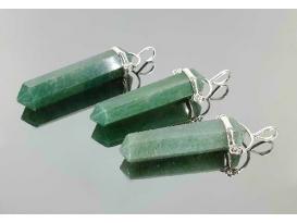 Colgante pendulo cuarzo verde plata (3ud)