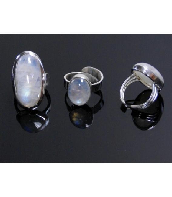 Anllo adaptable cabujon piedra luna(1ud)