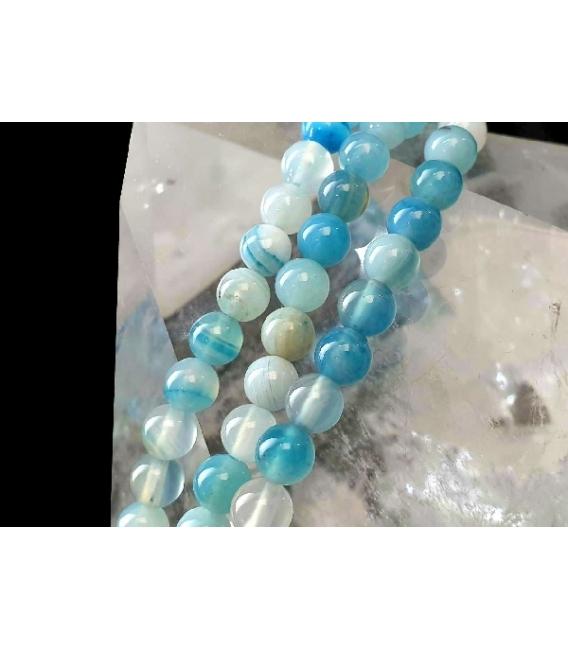 Hilo bola agata bandeada azul celeste 6mm