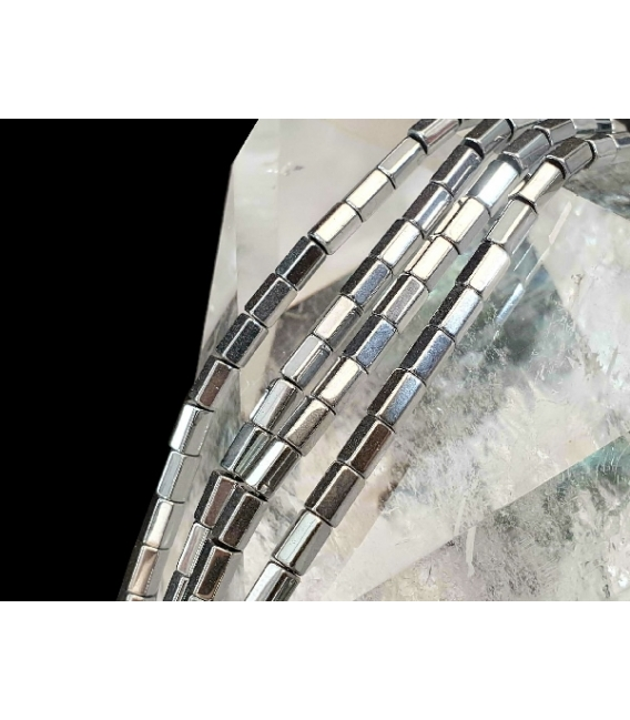 Hilo prisama hematite color plateado 6x4mm