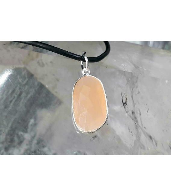 Colgante facetado piedra sol grande plata (1ud)