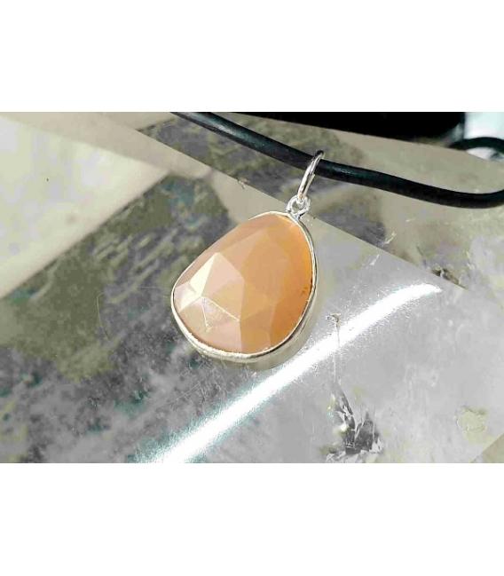 Colgante facetado piedra sol pequeño plata (3ud)