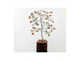 Arbol multicolor pequeño con base de madera