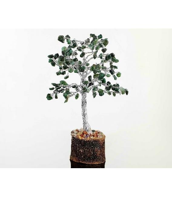 Arbol esmeralda mediano con base de madera