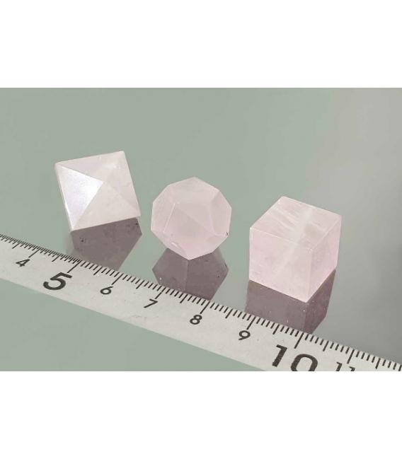 Sólidos Platónicos cuarzo rosa estuche (7ud)