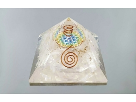 Pirámide orgonite flor de la vida 7x7cm  selenita