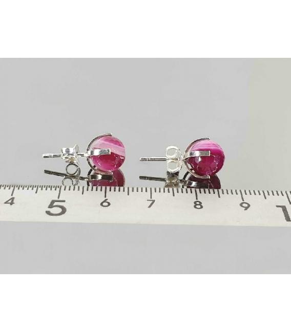 Pendiente bola 8mm garra facetado ágata rosa bandeada (3par)