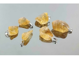 Colgante rodado citrino plata (3ud)