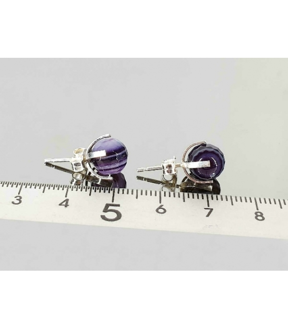 Pendiente ágata bandeada lila facetada 8mm (3par)