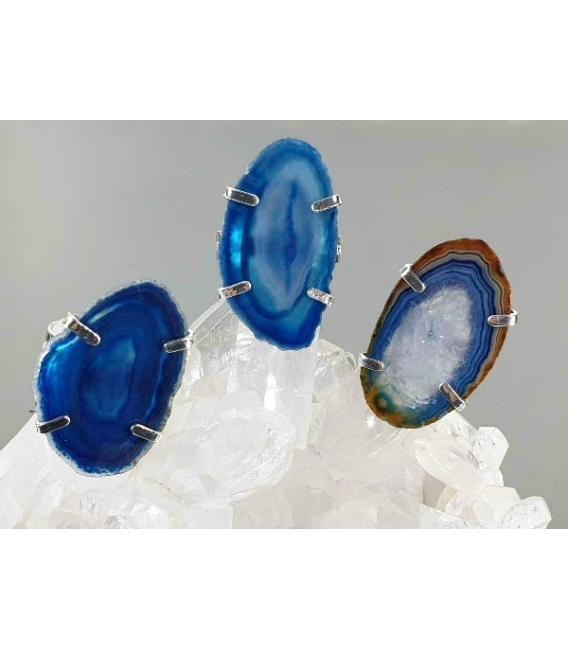 Anillo chapa agata azul (2ud)