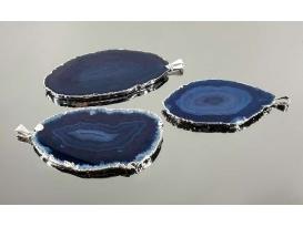 Colgante chapa ágata azul borde electrolítico (3ud)