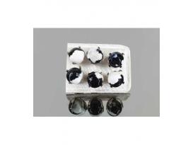 Pendiente ágata negra y blanca facetada 8mm (3par)