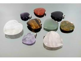 Colgante corazón minerales variados (10ud)