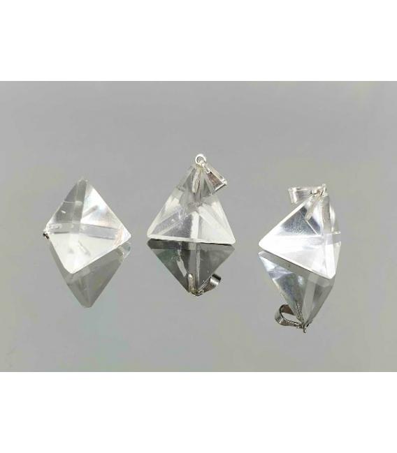 Colgante tetraedro cuarzo (3ud)