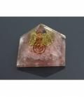 Pirámide orgonite 9x9cm de cuarzo rosa