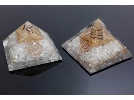 Pirámide orgonite 9x9cm de cuarzo