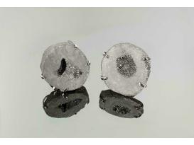 Anillo geoda aqua aura plata (2ud)