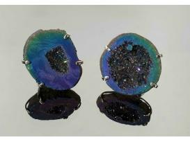 Anillo geoda aqua aura arco iris