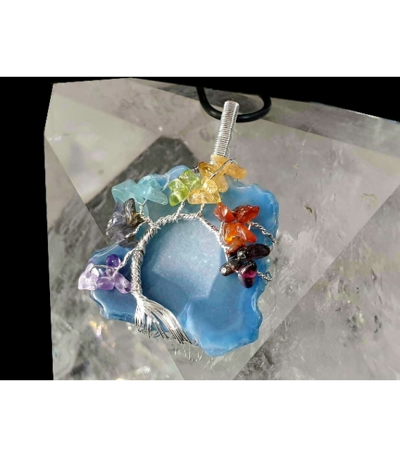 Colgante chapa agata azul arbol chacras (2ud)