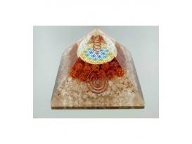 Piramide orgonite flor de la vida con racimo 9x9 cuarzo