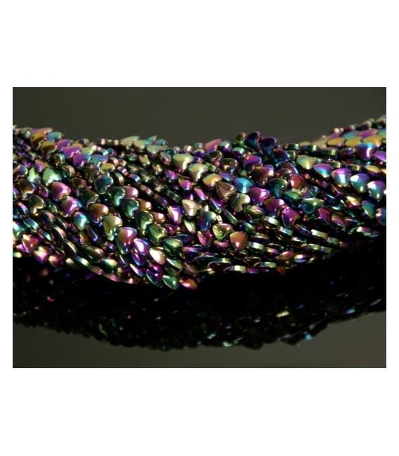 Hilo corazon hematite color arcoiris