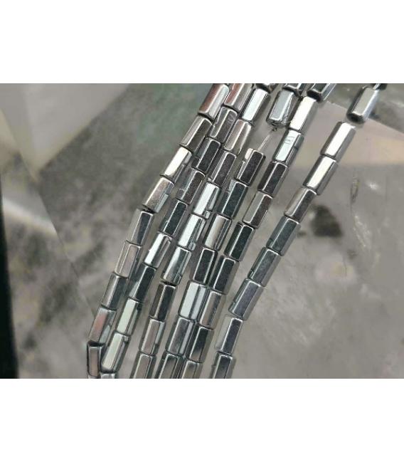 Hilo prisma hematite color plata 5x2mm