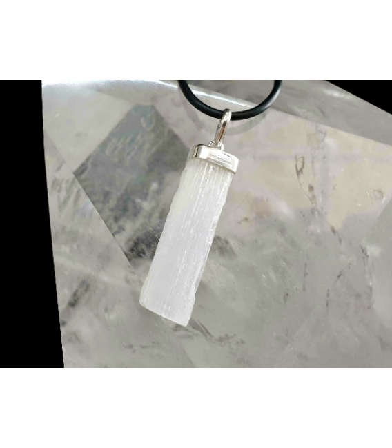 Colgante rectángulo selenita plata (3ud)