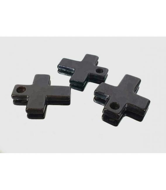 Colgante cruz agata negra (3ud)