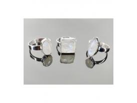 Anillo adaptable piedra luna  plata (1ud)