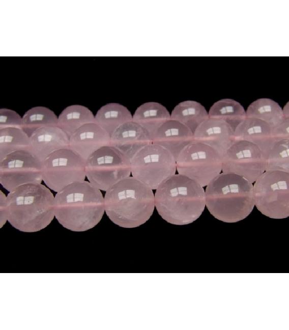 Hilo bola cuarzo rosa 8mm primera