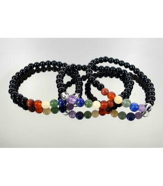 Lote pulsera 7 chacras con obsidiana negra 6mm (10ud)