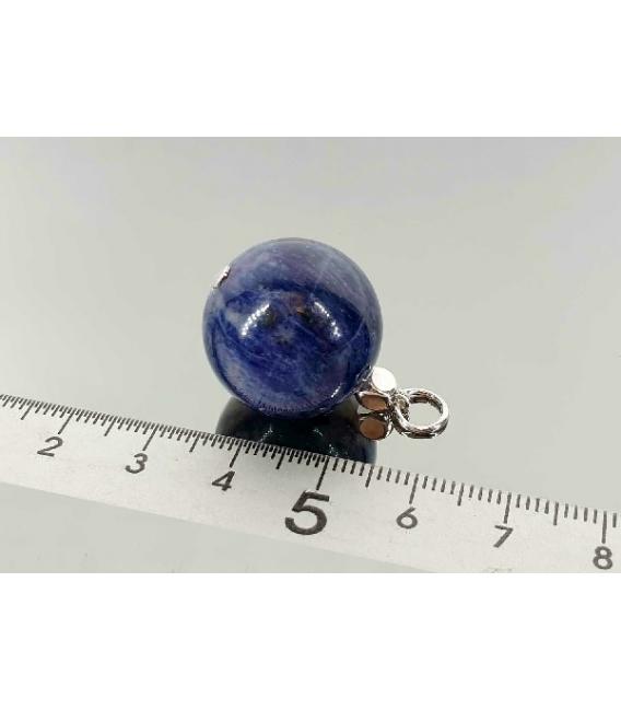 Colgante esfera sodalita plata (2ud)