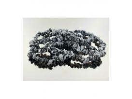 Pulsera rodado obsidiana nevada (10ud)