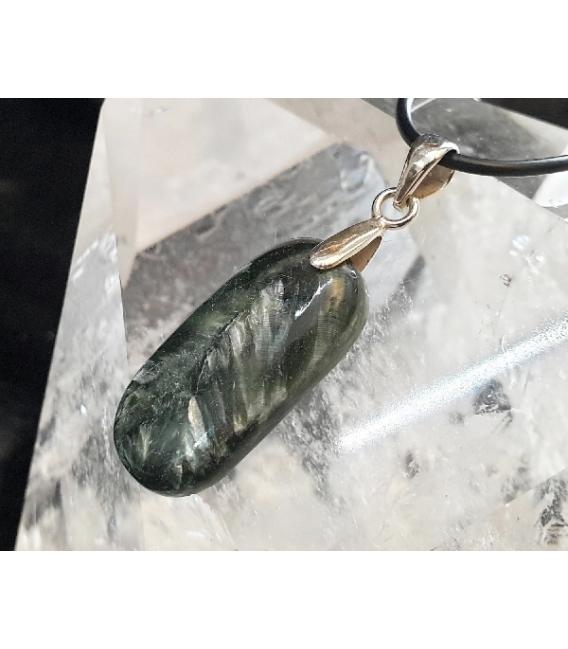 Colgante cabujón serafinita plata